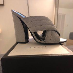 Gucci silver glittery mule heels!